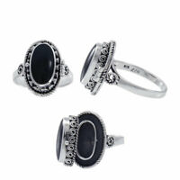 Spell Poison Black Obsidian Gem Sterling Silver Ring by Peter Stone Jewelry