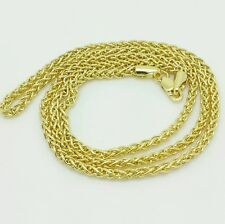 """14k Yellow Gold Round Hollow Wheat Necklace Chain 24"""" 2.4mm"""
