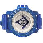 All Blue Hip Hop Blue Cz Mason Masonic Bullet Silicon Band Wrist Watch Men's New