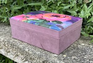SMALL WOODEN FLORAL FABRIC COVERED DECORATIVE BOX ~ SHABBY CHIC