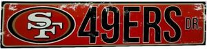 """SAN FRANCISCO 49ERS STREET METAL 24 X 5.5"""" SIGN DRIVE NFL ROAD AVE DISTRESSED"""