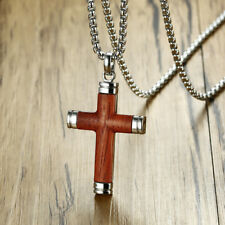 Religious Rosewood Men Necklace Pendant Jesus Cross Prayer Chain Dad Father Gift