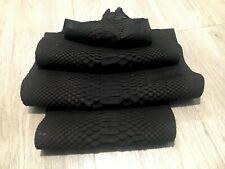 Genuine Short Tail Nubuck Python Snake Skin Hide Pelt Black 1.45 Meters Arts