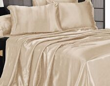 3 Piece Beige Satin Silky Sheet Queen Size Fitted Pillows 500TC New