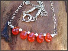 *PI*AAA Fanta ORANGE CARNELIAN bar segment .925 Hill Tribe Silver Necklace!