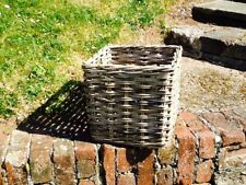 KUBU GREY SQUARE RATTAN STORAGE/LOG BASKET INTEGRAL HANDLES.  CUTE