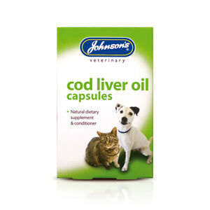 Johnsons Cod Liver Oil Capsules for Dogs Cats Omega 3 Skin Coat Bone Supplement