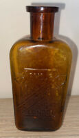 Rare Vintage Amber Glass Armour London Chicago  Medicine Apothecary Bottle