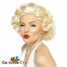 Womens Ladies Official Marilyn Monroe Blonde Bombshell Wig Fancy Dress Accessory