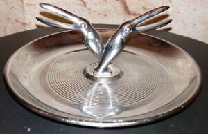 Vintage Mid Century Modern Silvertone Metal Trinket Ring Dish With Toucan Birds
