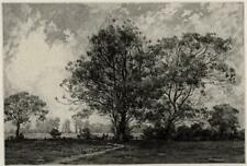 CHARLES HENRY BASKETT (1872-1953) Signed Aquatint Etching MATCHING ESSEX