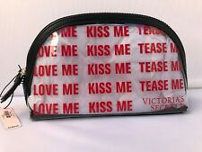 Victoria's Secret Love Me Kiss Me Tease Me Clear Travel Beauty Bag New Value $24