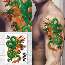 Supperb Large Temporary Tattoos - Green Dragon on Fires