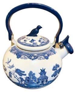 Johnson Brothers WILLOW BLUE Tea Kettle; Whistling Enamel Pot; Bluebird Knob