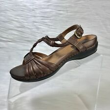 Clarks Artisan Women's Ankle Strap Sandals brown leather size 5.5 M