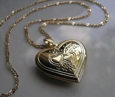 GENUINE LARGE 9ct gold locket necklace gf, FREE POSTAGE IF YOU BUY TODAY 0074