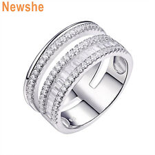 Newshe Wedding Band Eternity Ring For Women 1.5ct Sterling Silver Aaa Cz Sz 5-10