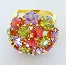 Joan Rivers New Dome Ring Lavender Olive Red Flower Shaped Swarovski Crystals 9