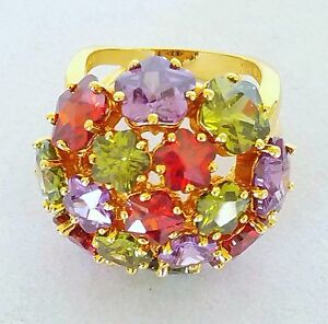 Joan Rivers Ring NEW Glam Finale Lavender Green Red Crystal Flowers Sz 9