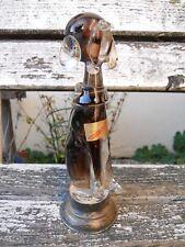 """Ancien sujet en verre de Murano étiquette forme chien """"caniche"""" monture argent"""