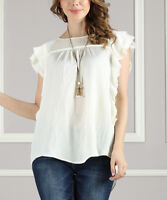 Womens SUZANNE BETRO ivory vintage top M Medium NWT solid blouse shirt wedding