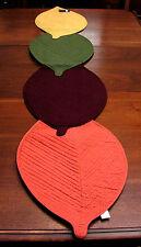 Leaf Shaped Table Runner 14x72in Auburn Ruby Wine Burnt Olive Glazed Ginger C&F
