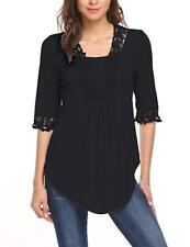Womens Casual Half Sleeve Top Scoop Neck T Shirt Blouses Tunic Blouse Black S