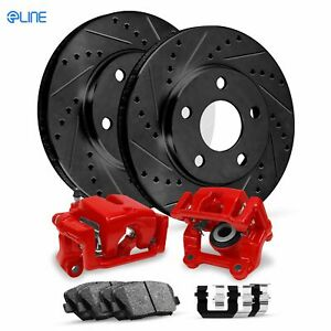 For 2002 Lincoln Blackwood Front Red Calipers+Black D/S Brake Rotors+Pads+HD