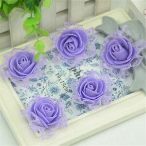 50pc 3.5cm Mini Artificial Lace Flowers Small Foam Rose Head Wedding Party Decor