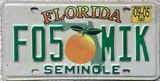 GENUINE American Florida Citrus Seminole County USA License Number Plate F05 MIK