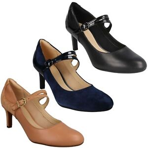 DANCER REECE LADIES CLARKS LEATHER SUEDE WORK DRESS MARY JANE BUCKLE COURT SHOES