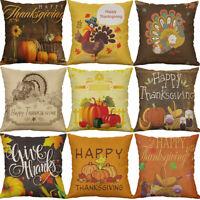 """18"""" Thanksgiving Day Print Cotton Linen Cushion Cover Pillow Case Home Decor"""