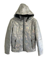 GUESS Mens SILVER FOIL Quilted PUFFER Full Zip Hooded JACKET COAT - Medium