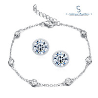 925 Sterling Silver Droplet Bracelet with Bezel Stud/Drop Earrings - CZ