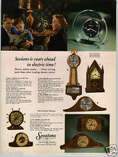 1954 PAPER AD 4 PG Sessions Clocks Banjo Gothic Pilots Wheel Alarm Store Display