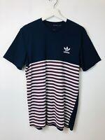 Adidas Originals Striped Short Sleeve T-shirt Navy Maroon Tee Top Medium M Men's