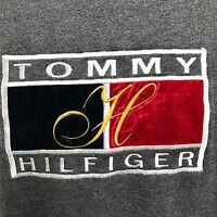 Tommy Hilfiger Women Vintage Sweater 90's Block Spell Out Gray Made In Italy 2XL