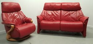 Himolla Chester Leather 2 seater recliner sofa 1 x Recliner Chair Red 190321