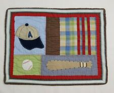 Pottery Barn Kids Baseball Pillow Sham Standard Quilted Blue Red Green Brown