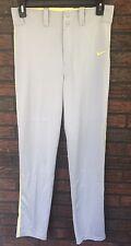 Nike Swingman Dri-Fit Gray Small Baseball Softball Pants Side Yellow Piping New