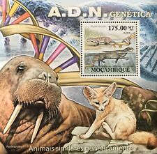 MOZAMBIQUE WILD ANIMALS WITH SIMILAR GENETICS S/S DNA FOX WALRUS STAMPS PUIJILA