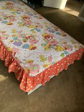 Vintage STRAWBERRY SHORTCAKE TWIN Ruffled BEDSPREAD Bed Topper EUC 1980