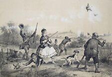 Lithographie originale, La chasse aux perdrix, Victor Adam, milieu du XIXème