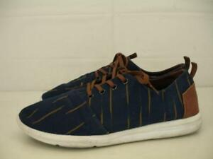 Mens sz 10.5 M Toms Del Rey Navy Blue Brown Striped Canvas Shoes Sneaker Lace-Up