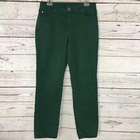 Bandolino Womens SZ 10 Jeans Mandie Green Mid-Rise Straight Leg Stretch 5-Pocket