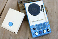 Solid State transistor AM radio record player Blue Japan Portable Battery AS IS