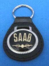 SAAB AUTO LEATHER KEYCHAIN KEY CHAIN RING FOB #130