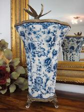 Porzellan Bronze Blumenvase Jugendstil Luxus Edel Pokal Amphore Prunk Vase Antik