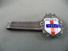 Vintage Silver Tie Bar Clip Enameled Crest from ARUBA Flag Crown Sterling Silver