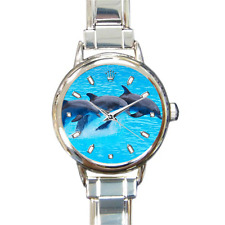 Beautiful Dolphin Pod Sea Creatures Sean Life Blue Ocean Charm Watch Bracelet